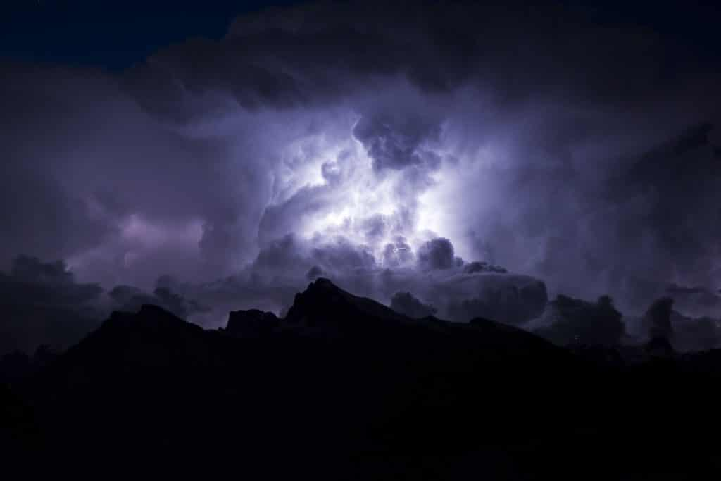 lightening in mountains